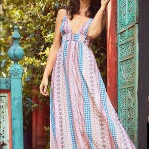 Lulu's Maxin Relaxin Multi Print Maxi Dress M